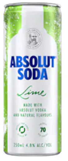 Absolut Lime & Soda Can